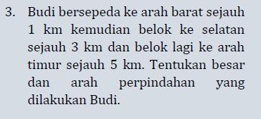 3. Budi bersepeda ke arah barat sejauh 1 km kemudian belok ke selatan sejauh 3 km dan belok lagi ke arah timur sejauh 5 km. Tentukan besar dan arah perpindahan yang dilakukan Budi.